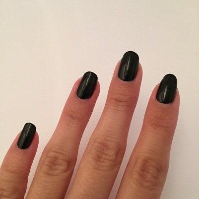 The Sally Hansen Hard as Nails-Black Out is a one coat polish