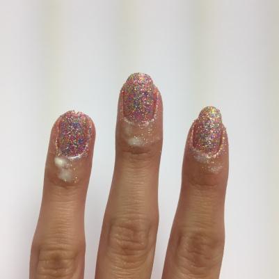 One coat of glitter (sponged)