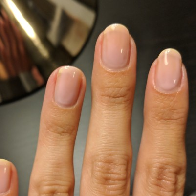 The first coat of pink was very sheer