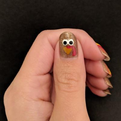 The final turkey design on my thumb