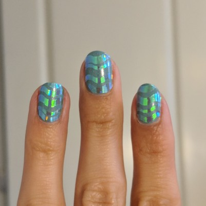Wave stickers placed on my nails