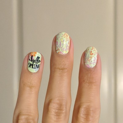 """Flowers & """"Hello Spring"""" stamped on ring finger"""