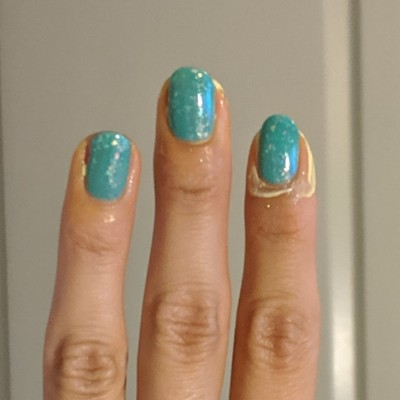 Two coats of Rogue Lacquer - Peter Pan's Flight, with liquid latex around the nails